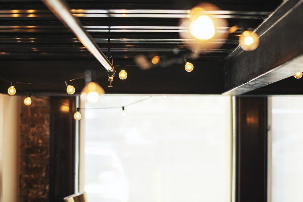Vintage light bulb on the ceiling